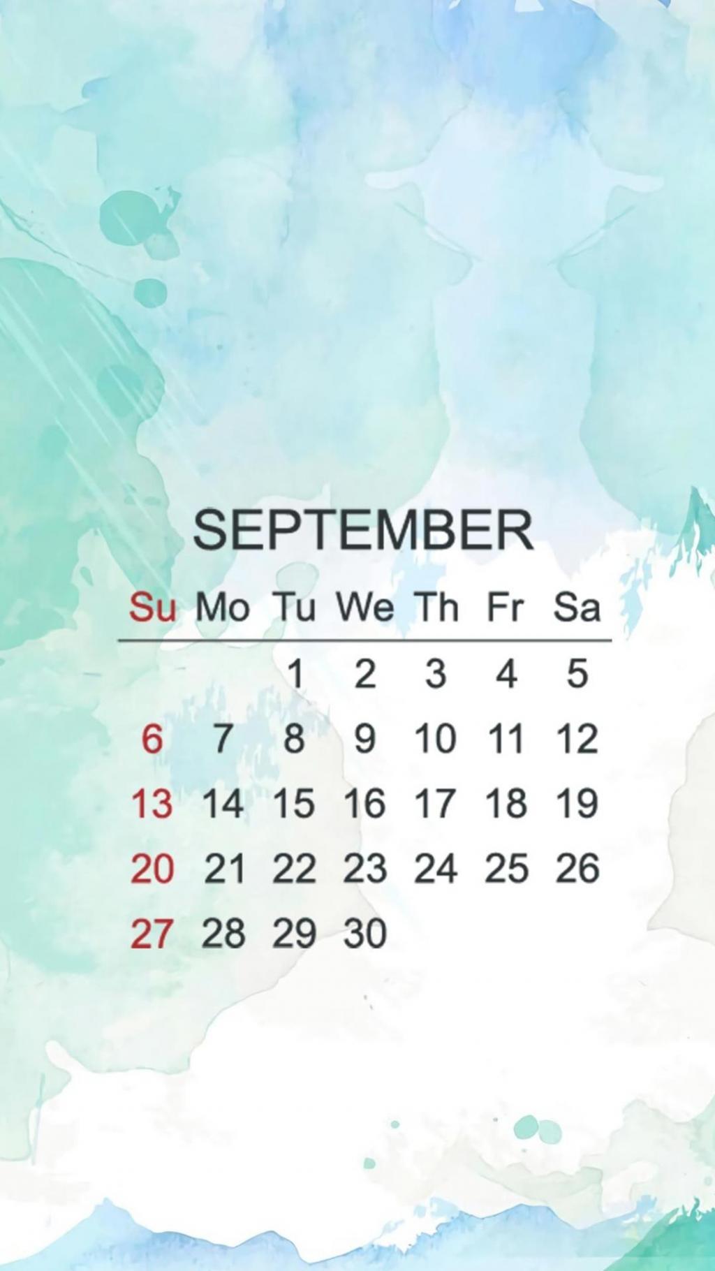 2020年9月清新插画日历手机壁纸